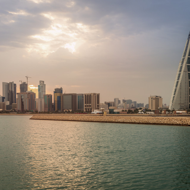 """Skyline with Bahrain World Trade Center in Manama, Bahrain"" stock image"