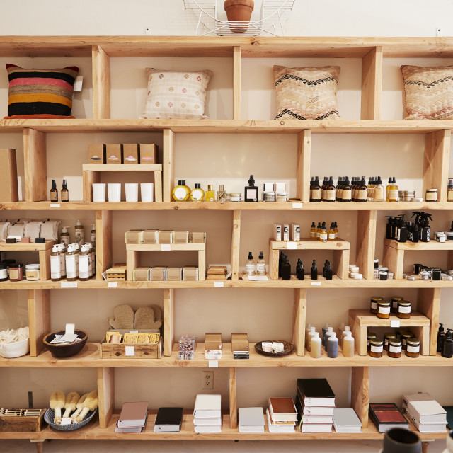 """Display Of Cosmetics In Independent Store Without Customers"" stock image"