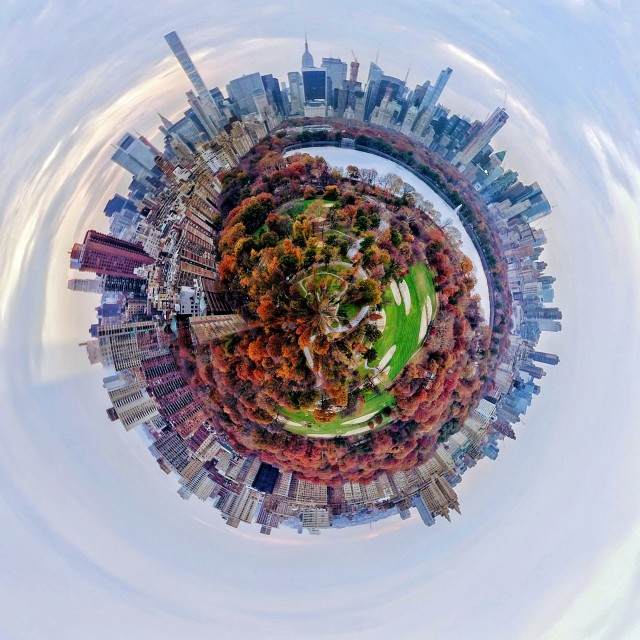 """tiny planet central park"" stock image"