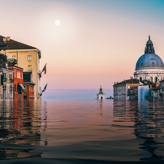 """""""Digital manipulation of flooded Canal Grande in Venice, Veneto, Italy"""" stock image"""