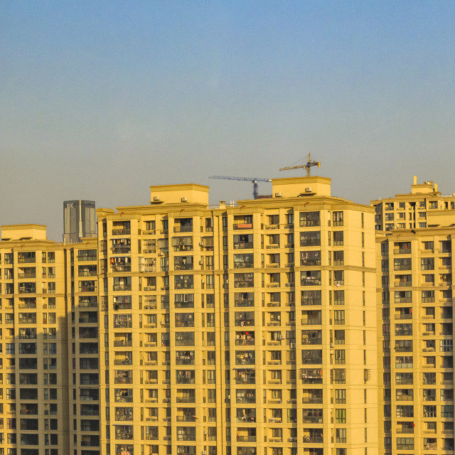 """""""Apartment Buildings Train Point of View, Shanghai, China"""" stock image"""