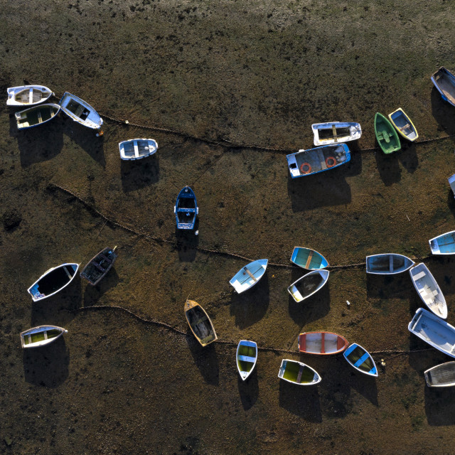 """Rowing boats from above"" stock image"