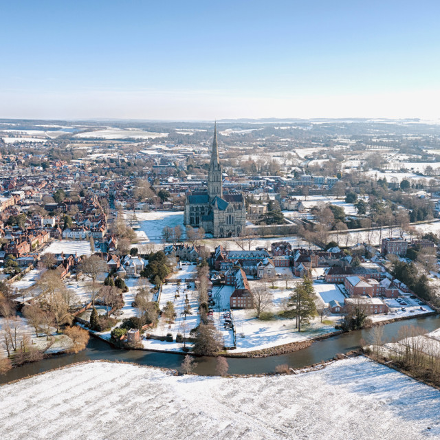 """Snow in Salisbury by Drone"" stock image"