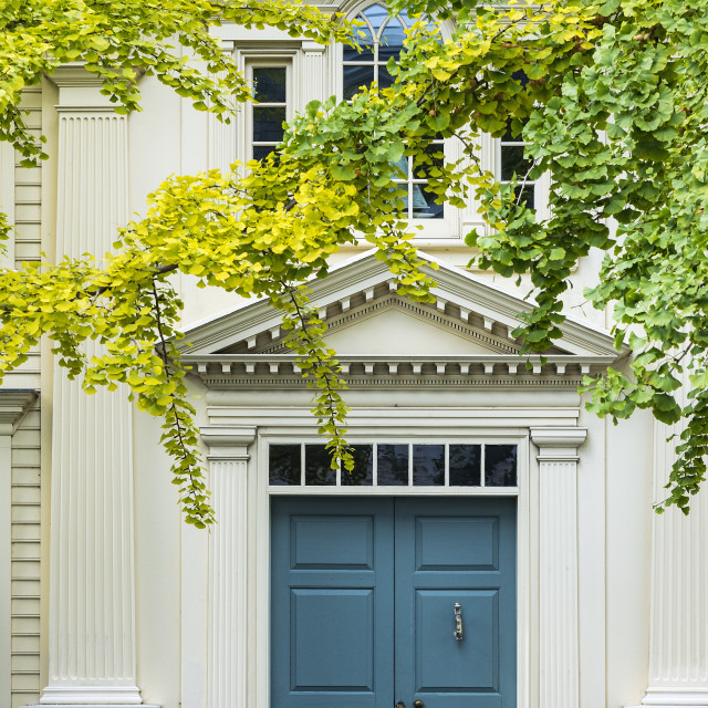 """Charming colonial house exterior detail, Stonington, Connecticut"" stock image"