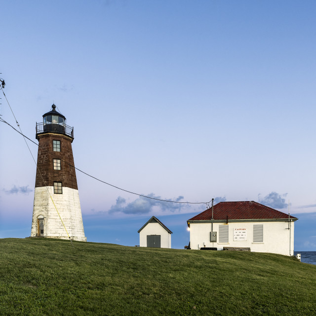 """Judith Point Lighthouse, Narragansett, Rhode Island"" stock image"