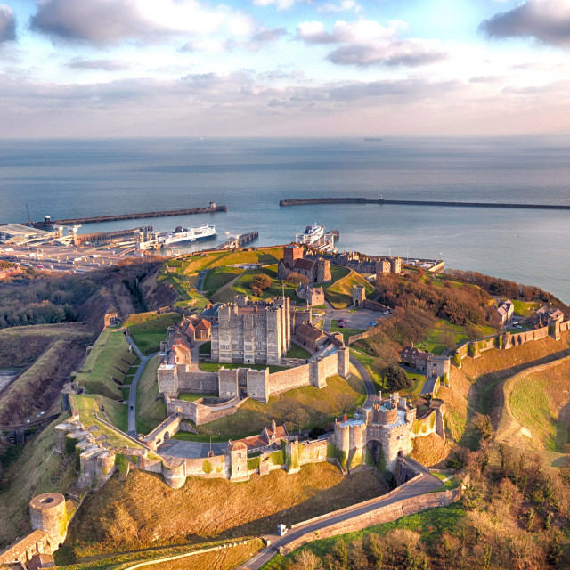 """Dover Castle in Kent by drone."" stock image"