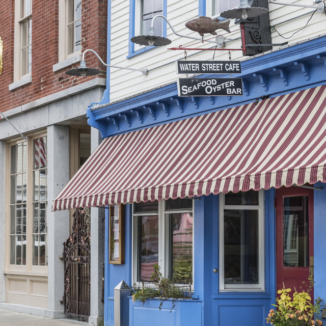 """Water Street seafood Cafe, Stonington, Connecticut"" stock image"