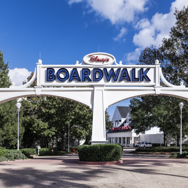"""Entrance to Disney's Boardwalk resort"" stock image"