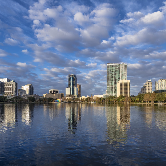 """City skyline and Lake Eola, Orlando, Florida"" stock image"