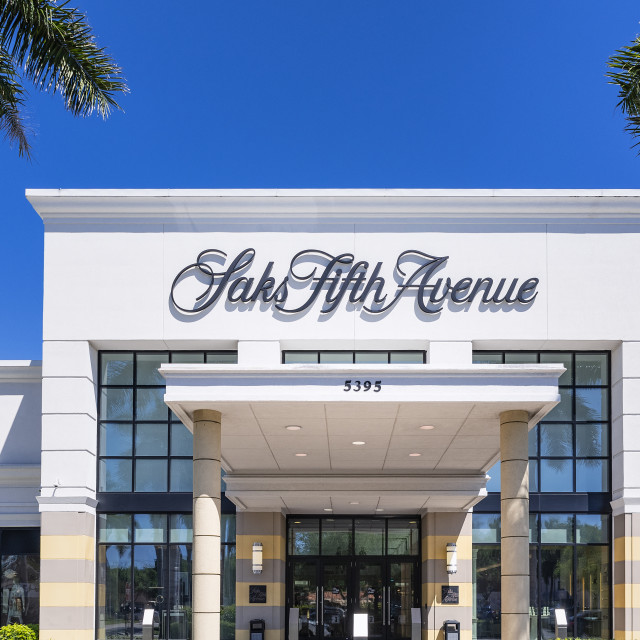 """Saks Fifth Avenue store exterior, Waterside Shops, Naples, Florida"" stock image"