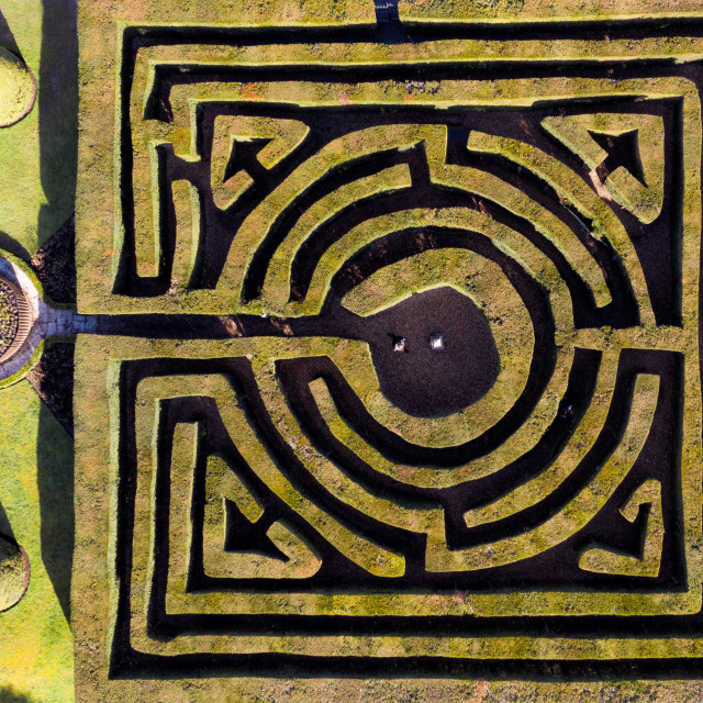 """Hever Castle Maze by drone"" stock image"