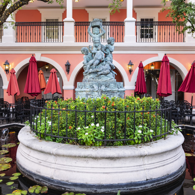 """Fountain courtyard at Jane's Cafe, Naples, Florida"" stock image"