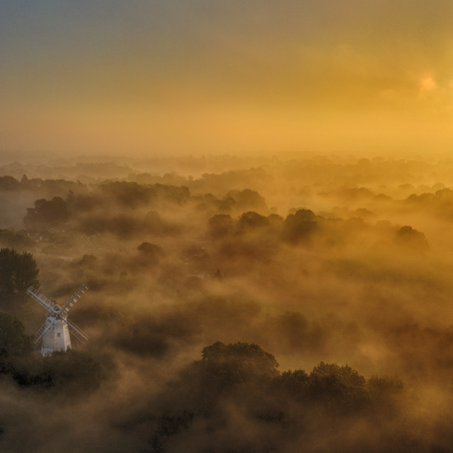 """Shipley Windmill at Sunrise by drone."" stock image"