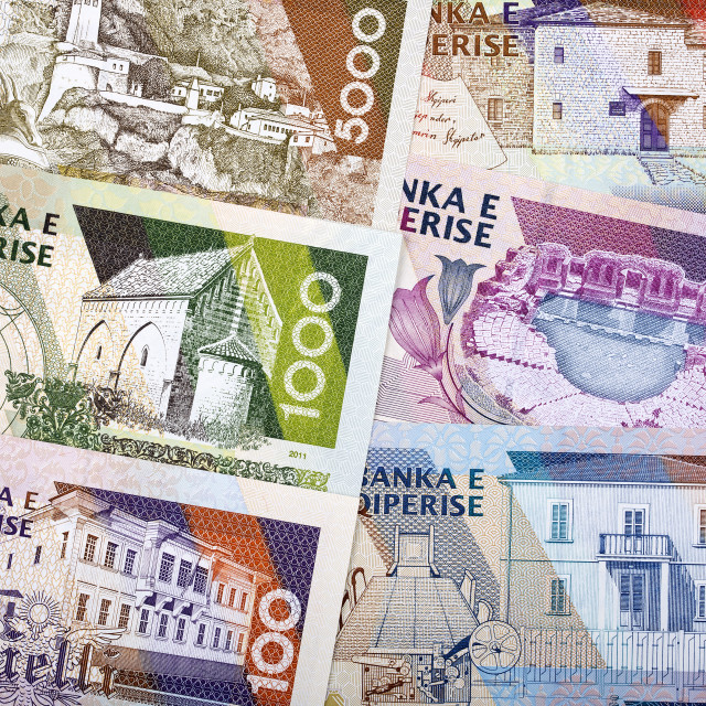"""Albanian money - reverse side, a background"" stock image"