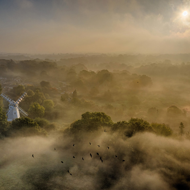"""Dawn at Shipley Mill in West Sussex, By Drone."" stock image"
