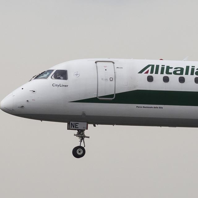 """Alitalia Embraer 190 And Bird"" stock image"