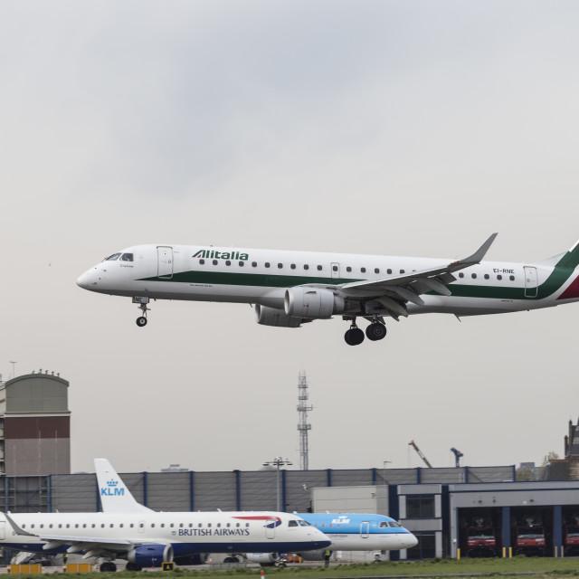 """Alitalia Embraer 190 Bird Near Miss"" stock image"