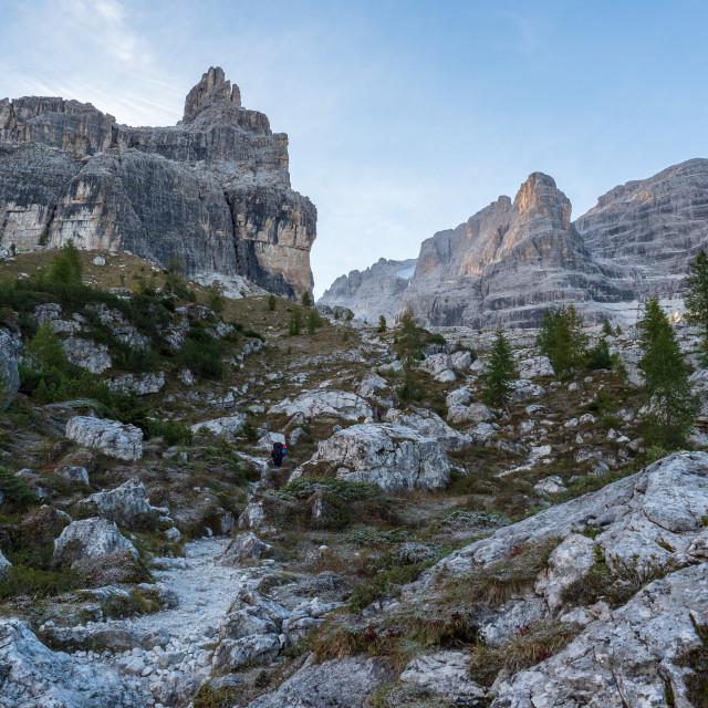 """Tourist path with beautiful dolomite landscape"" stock image"
