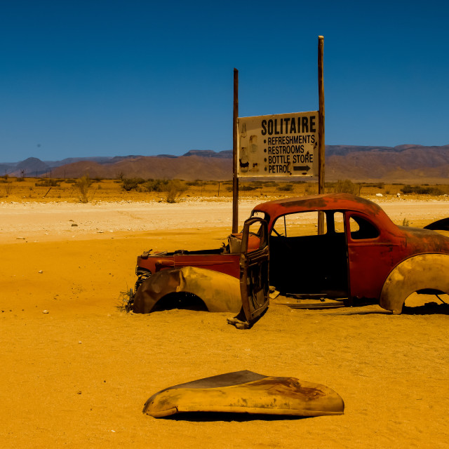 """Abandoned Car, Solitaire, Namibia"" stock image"