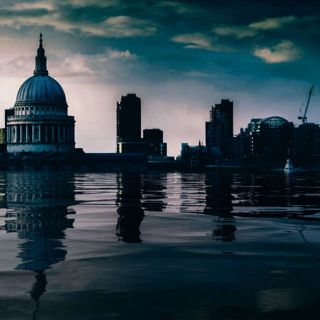 """""""Digital manipulation conceptual work of flooded Thames River with St. Paul's..."""" stock image"""