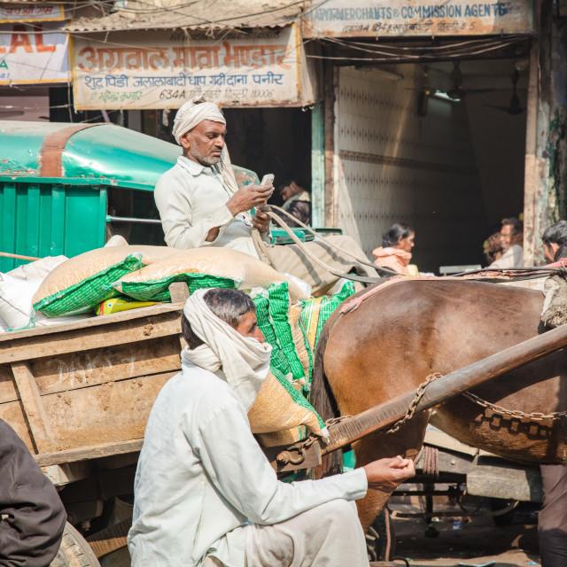 """Mobile phones reach Old Delhi"" stock image"