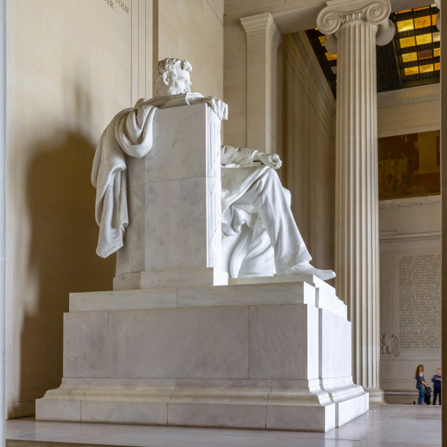 """""""View of the statue of Abraham Lincoln, Lincoln Memorial, Washington DC USA"""" stock image"""