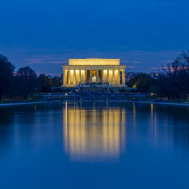 """View of Lincoln Memorial illuminated at dusk, Washington, D.C. USA"" stock image"