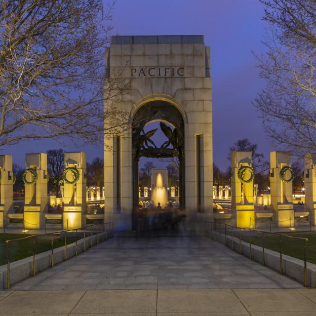 """View of the World War Two Memorial illuminated at dusk, Washington DC"" stock image"