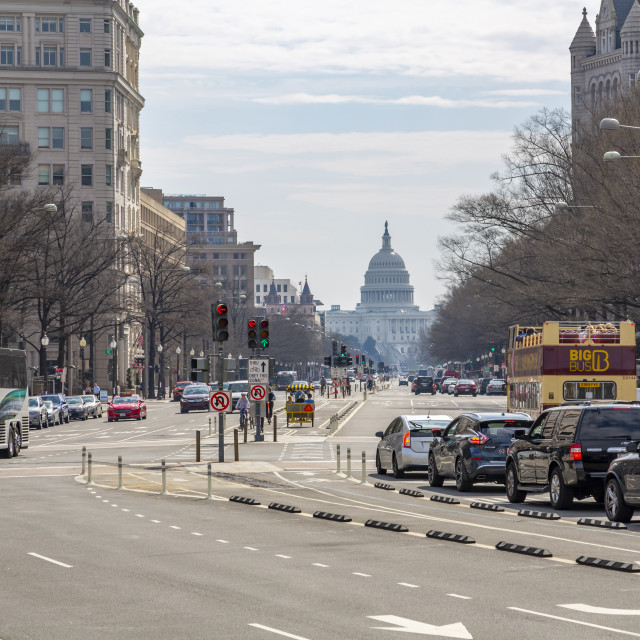 """""""View of the Capitol Building and Pennsylvania Avenue, Washington DC"""" stock image"""