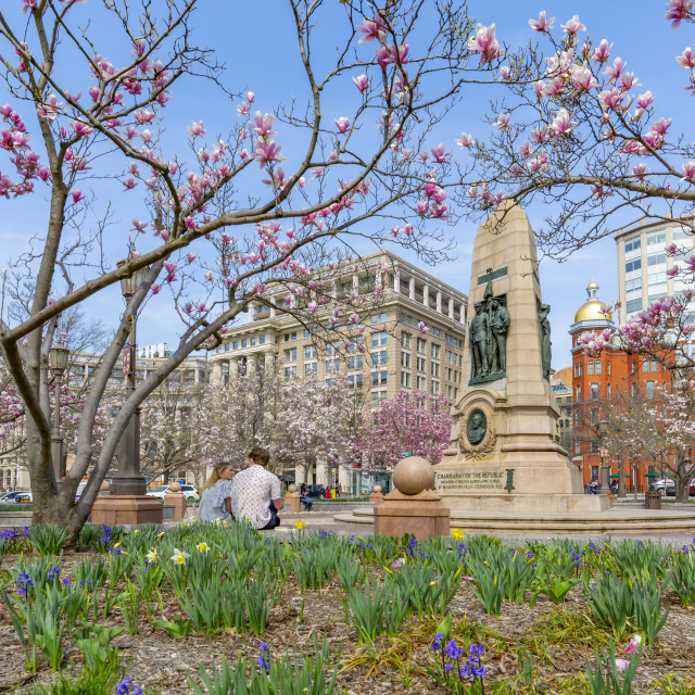 """View of John Marshall Park on Pennsylvania Avenue, Washington DC"" stock image"