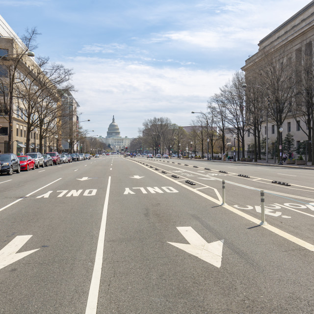 """""""View of the Capitol Building from Pennsylvania Avenue, Washington DC"""" stock image"""
