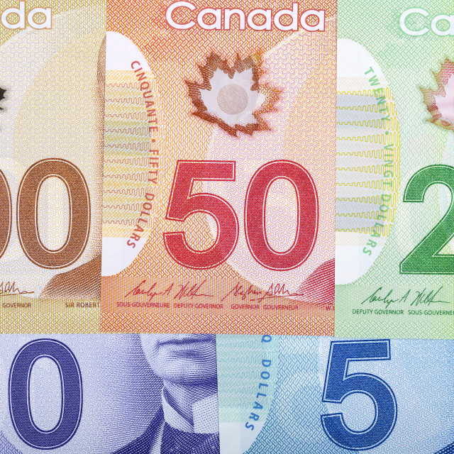 """Canadian Dollars, a business background"" stock image"