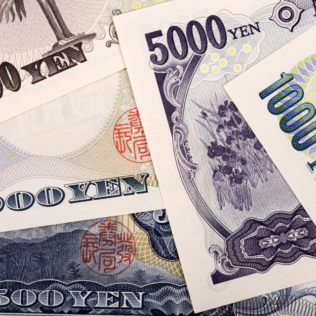 """""""Japanese Yen, a business background"""" stock image"""
