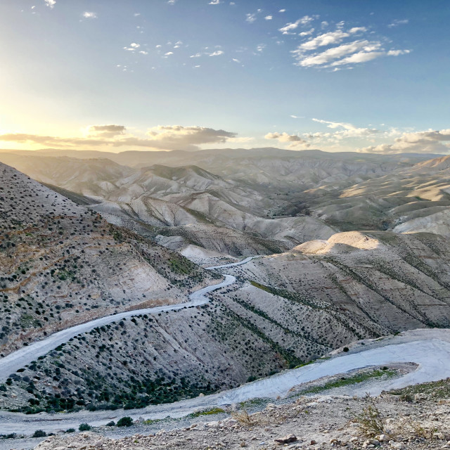 """endless road between the sandy hills in the territories between Palestine"" stock image"