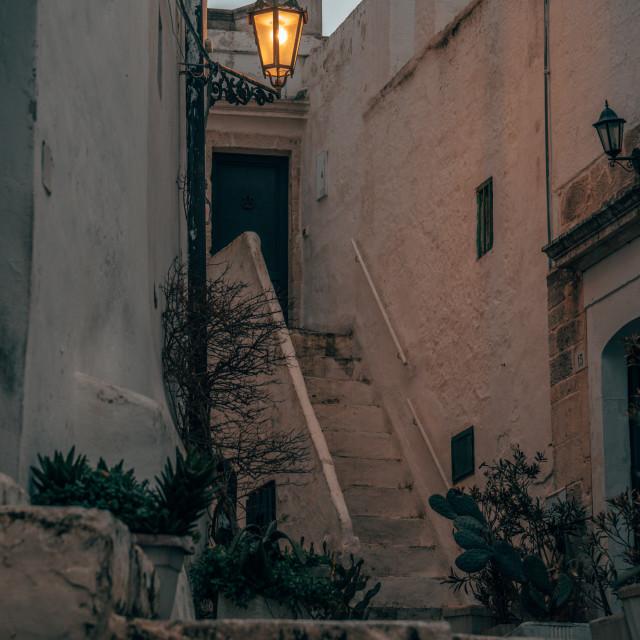 """City Street Light in Ostuni, Italy"" stock image"