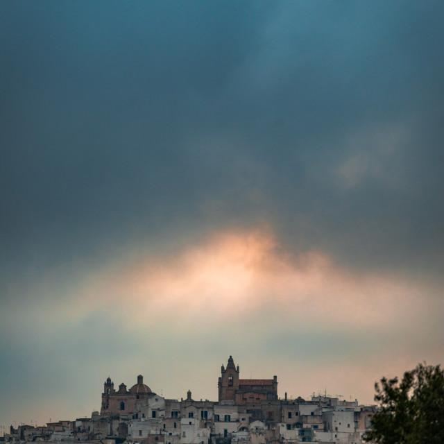 """Ostuni, Italy seen from far away"" stock image"