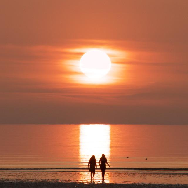 """Nothing beats a Blackpool sunset"" stock image"