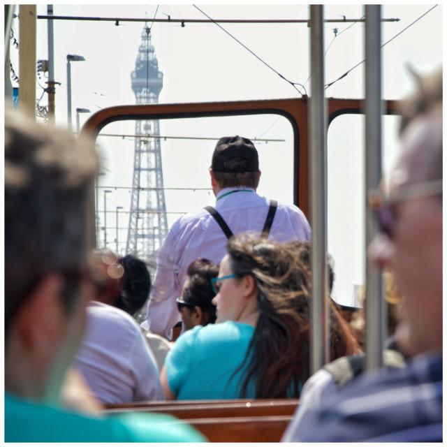 """Tram ride down Blackpool prom"" stock image"