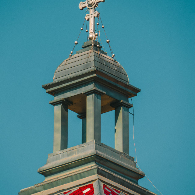 """""""Top of a building with a cross"""" stock image"""