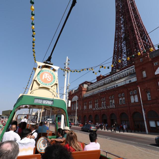 """Heritage tram ride past Blackpool Tower ."" stock image"