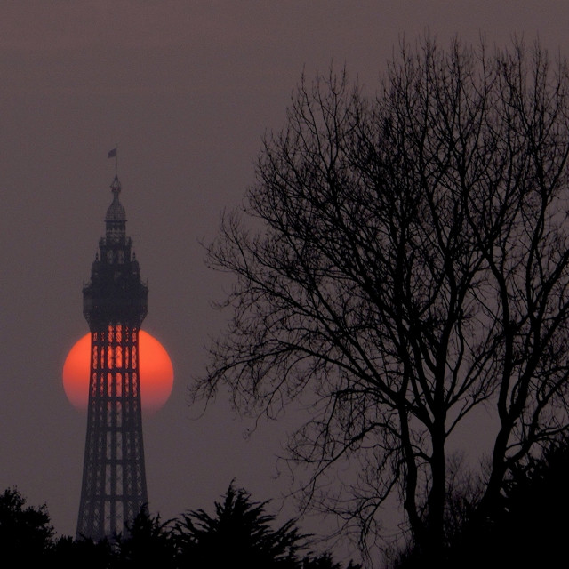 """""""We get some wonderful sunsets in Blackpool"""" stock image"""