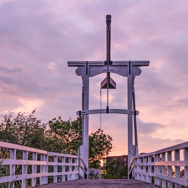 """""""White drawbridge at sunset"""" stock image"""