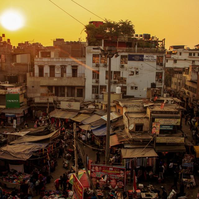 """Sun setting over Old Delhi, India"" stock image"