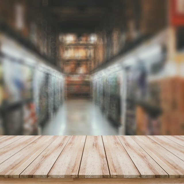 """Empty wooden board with blurred supermarket background for montage products display"" stock image"