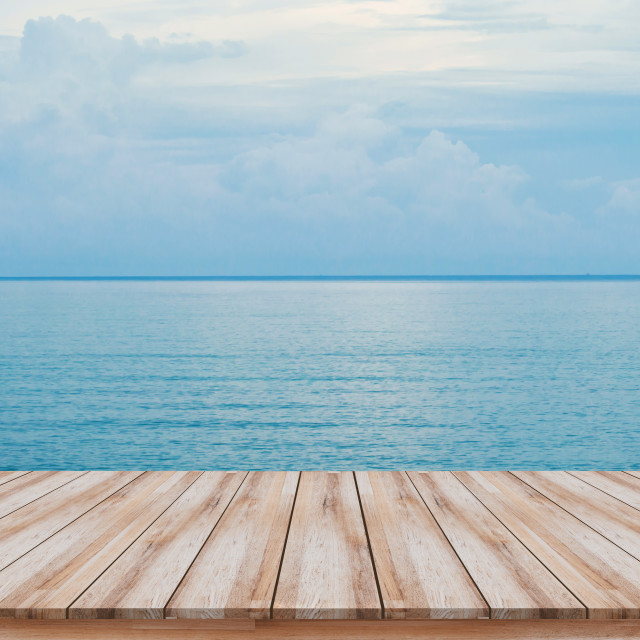 """Empty wooden pier with beautiful blue sea background for montage products display"" stock image"