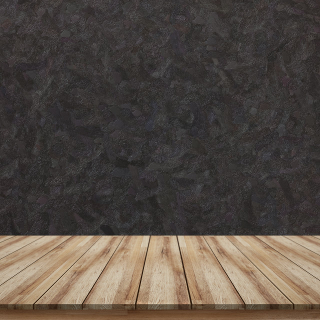 """Empty wooden tabletop with black rough background texture for mock up or montage products display"" stock image"