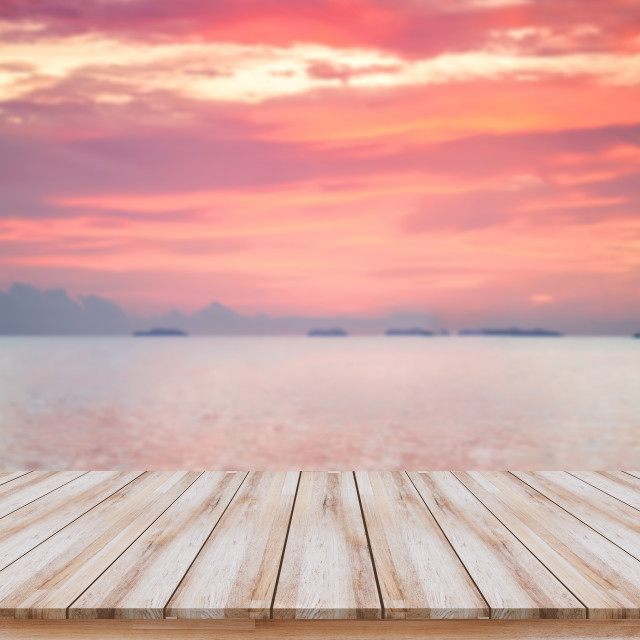 """Empty wooden board with beautiful sunset for products display or visual design key layout"" stock image"