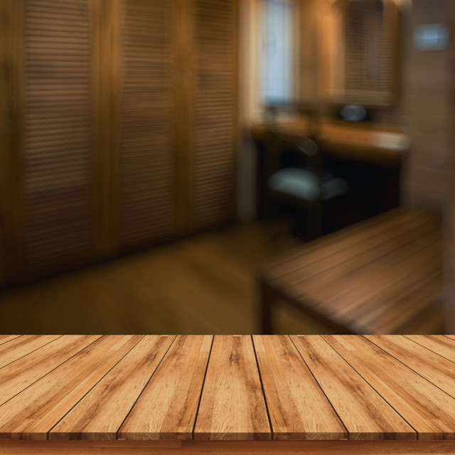 """Empty wooden board for montage products display sale promotion with blurred spa interior background"" stock image"