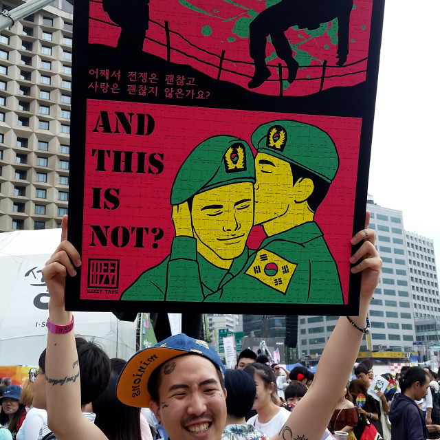 """Queer Korean artist Heezy Yang with his art, Seoul, Korea"" stock image"