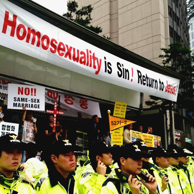 """Police create barrier, Seoul, Korea"" stock image"